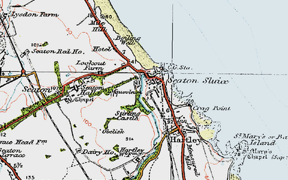 Old map of Seaton Sluice in 1925