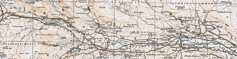 Old map of Sedbusk in 1925