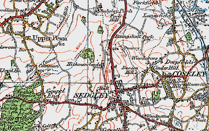 Old map of Sedgley in 1921