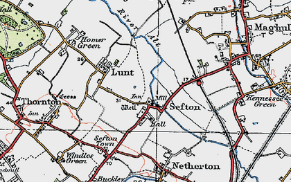 Old map of Sefton in 1923