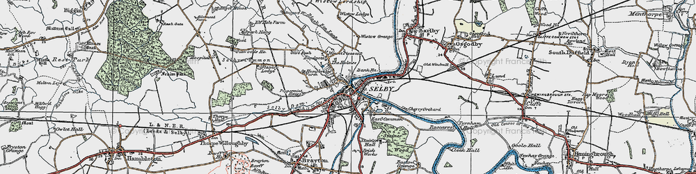 Old map of Selby in 1924
