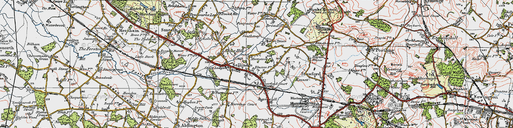 Old map of Sellindge in 1920