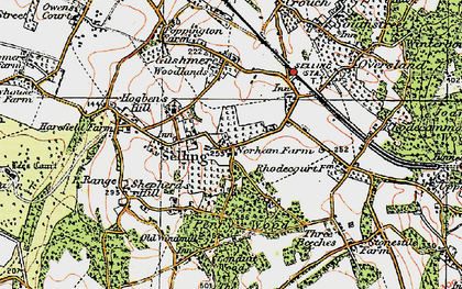 Old map of Selling in 1921