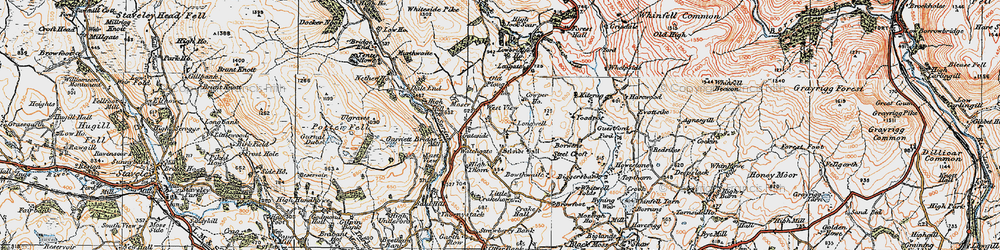Old map of Whitewell Folds in 1925