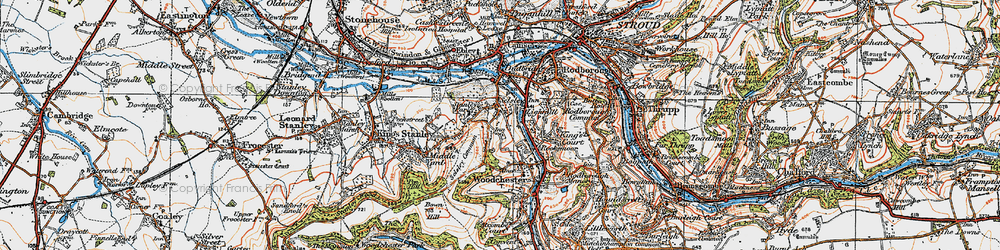 Old map of Selsley in 1919