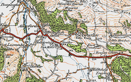 Old map of Selworthy in 1919