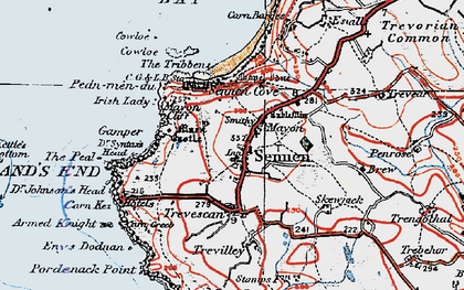 Old map of Sennen in 1919