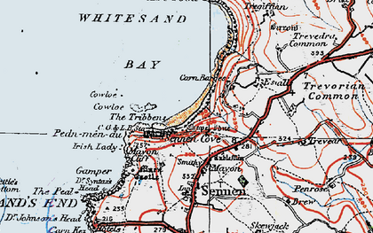 Old map of Sennen Cove in 1919