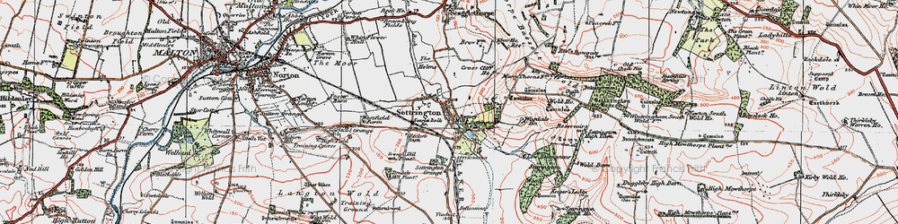 Old map of Wold Ho in 1924
