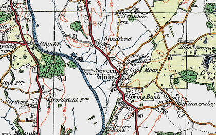 Old map of Severn Stoke in 1920