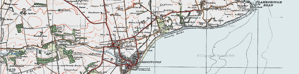 Old map of Sewerby in 1924