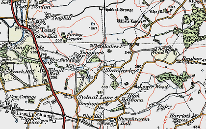 Old map of White Ladies Priory in 1921