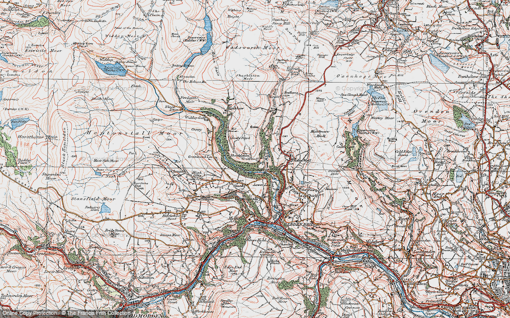 Old Map of Historic Map covering Abel Cross in 1925