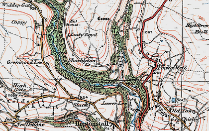 Old map of Abel Cross in 1925