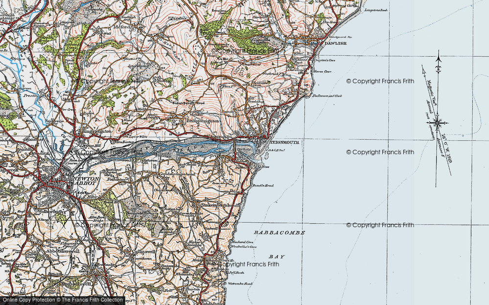 Old Map of Shaldon, 1919 in 1919