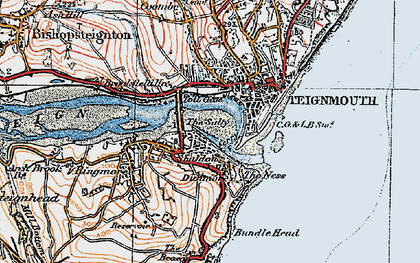 Old map of Shaldon in 1919