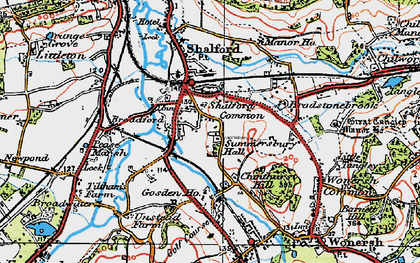 Old map of Shalford in 1920