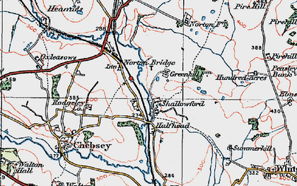 Old map of Shallowford in 1921