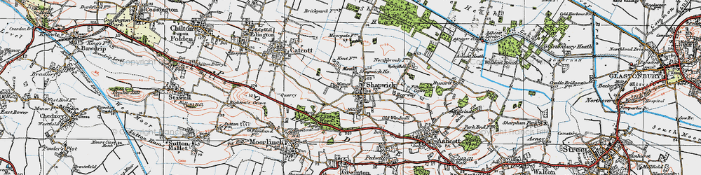 Old map of Shapwick in 1919