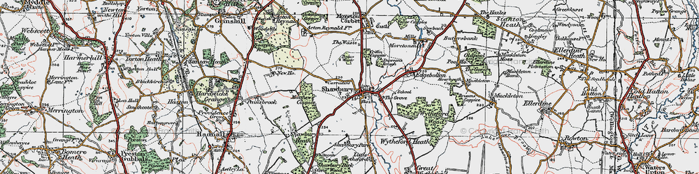 Old map of Shawbury in 1921
