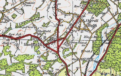 Old map of Shedfield in 1919