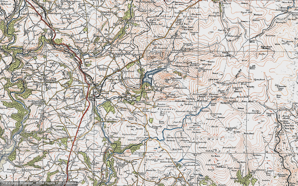 Old Map of Historic Map covering Legis Tor in 1919