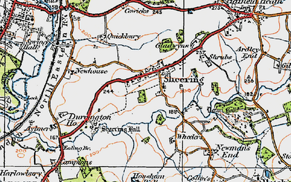 Old map of Sheering in 1919
