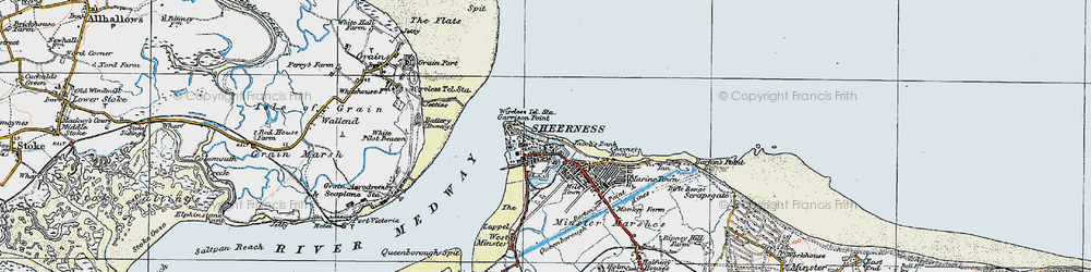 Old map of Sheerness in 1921