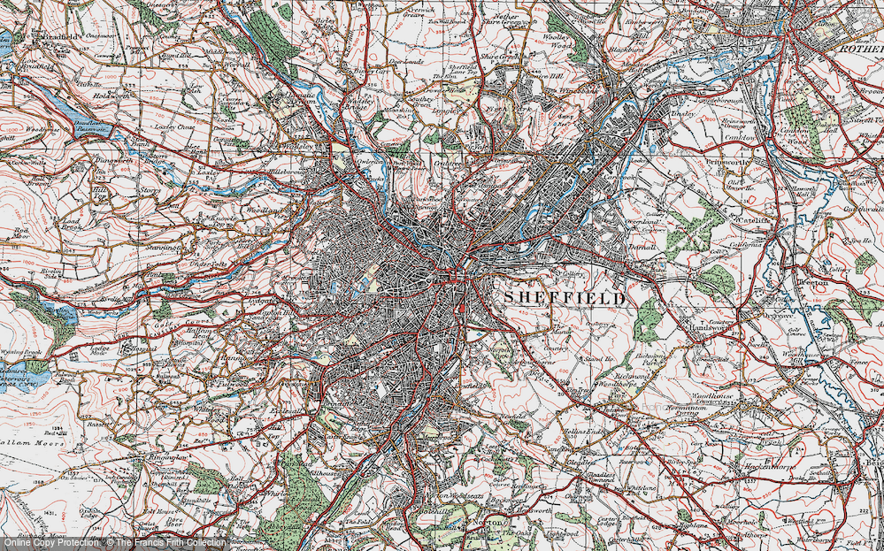 Map Of Sheffield Map of Sheffield, 1923   Francis Frith Map Of Sheffield