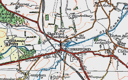 Old map of Shefford in 1919