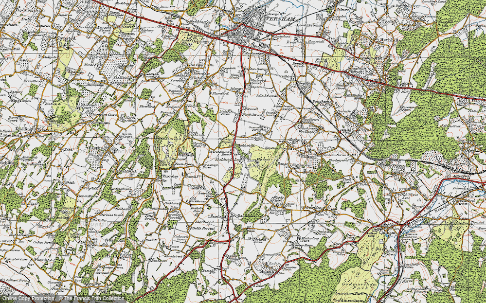 Old Map of Historic Map covering Badlesmere Court in 1921
