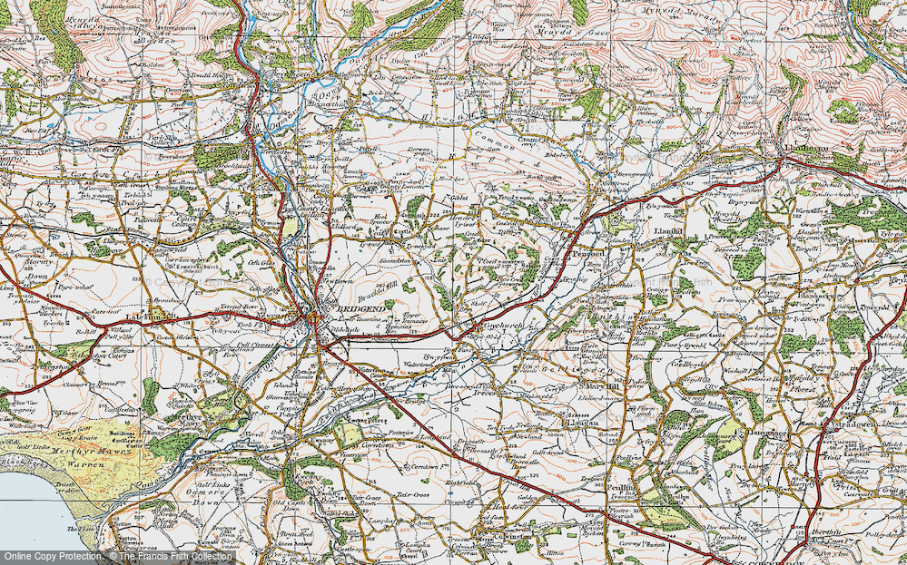 Old Map of Historic Map covering Hendre in 1922