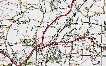 Old map of Shenfield in 1920