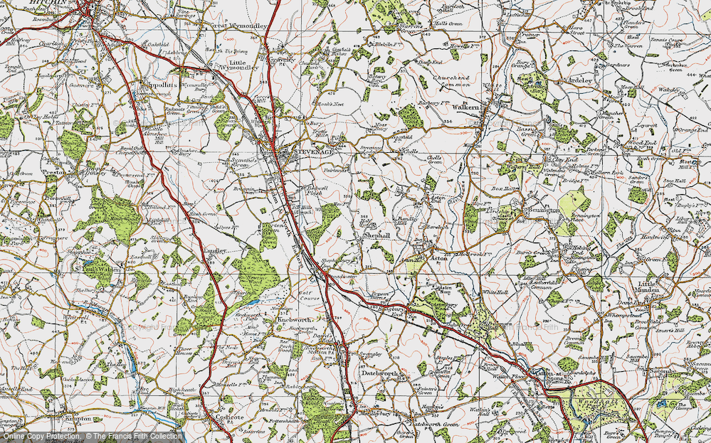 Old Map of Shephall, 1920 in 1920