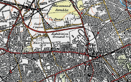 Old map of Wormwood Scrubs in 1920