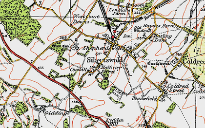 Old map of Shepherdswell in 1920