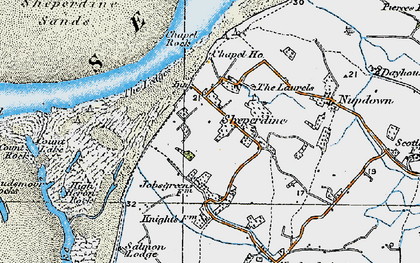 Old map of Ledges, The in 1919
