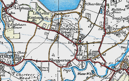 Old map of Shepperton in 1920