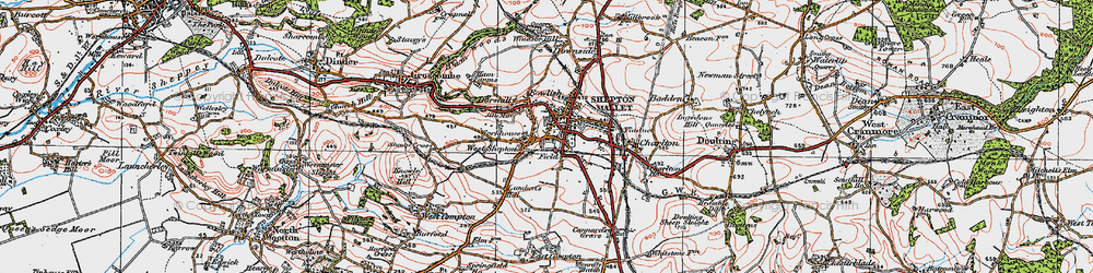 Old map of Shepton Mallet in 1919