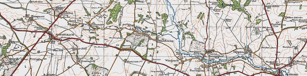 Old map of Sherborne in 1919