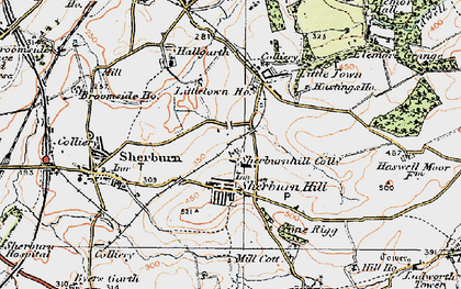 Old map of Sherburn Hill in 1925