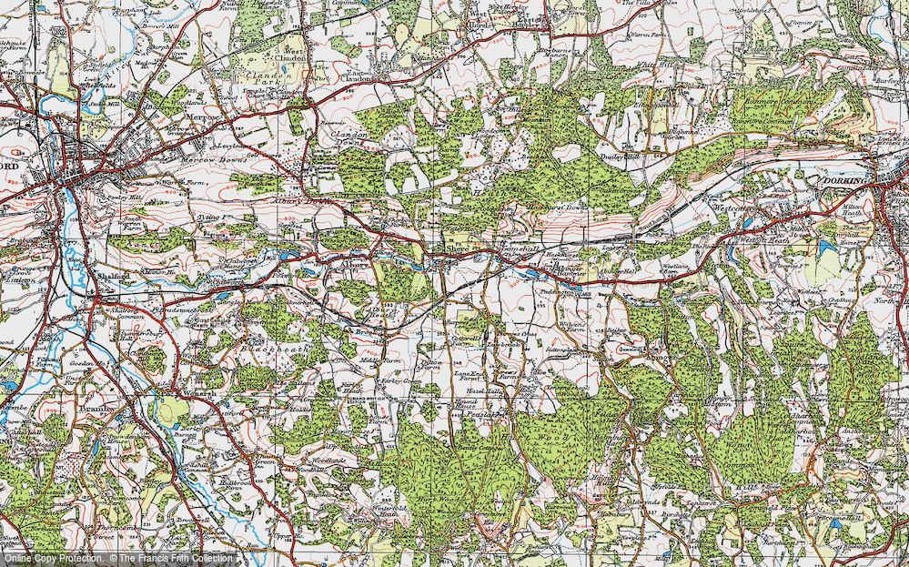 Old Map of Shere, 1920 in 1920