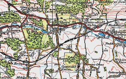 Old map of Shere in 1920