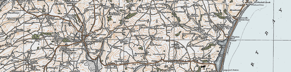 Old map of Sherford in 1919