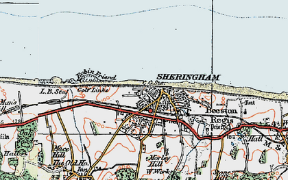 Old map of Sheringham in 1922