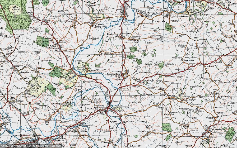 Old Map of Sherington, 1919 in 1919