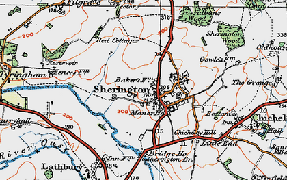 Old map of Sherington in 1919