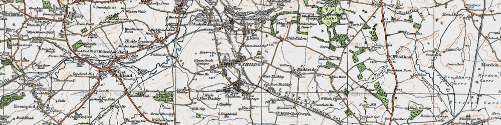 Old map of Shildon in 1925