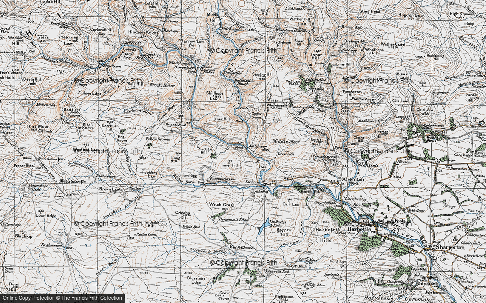 Old Map of Historic Map covering Wholehope Knowe in 1926