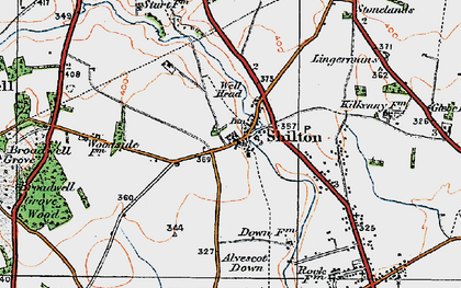 Old map of Alvescot Down in 1919